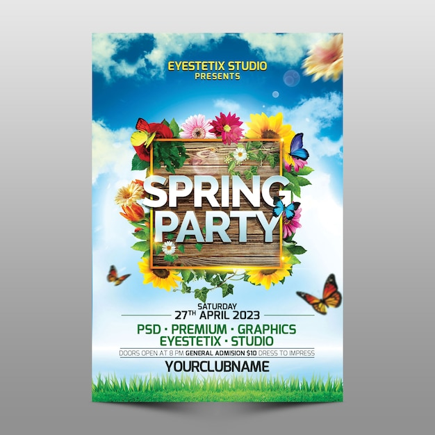 Spring party flyer Psd Premium