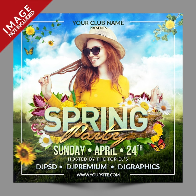 Spring party social media-promotiesjabloon Premium Psd