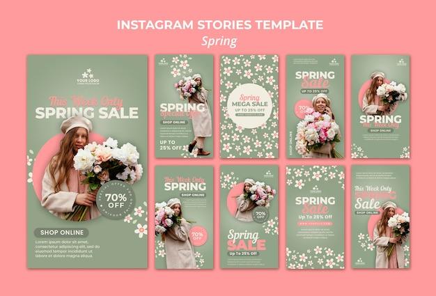 Spring social media-verhalen Premium Psd