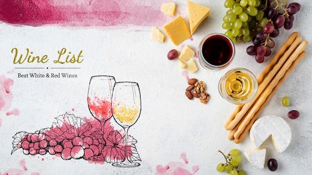 Spuntino e bicchiere di vino Psd Gratuite