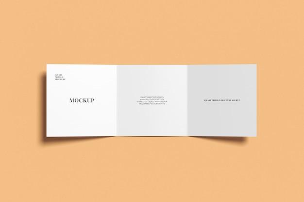 Square trifold brochure mockup bovenaanzicht Premium Psd
