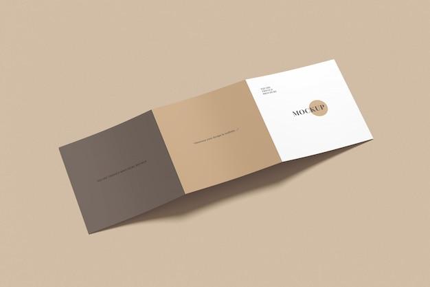 Square trifold brochure mockup high angle shot Premium Psd