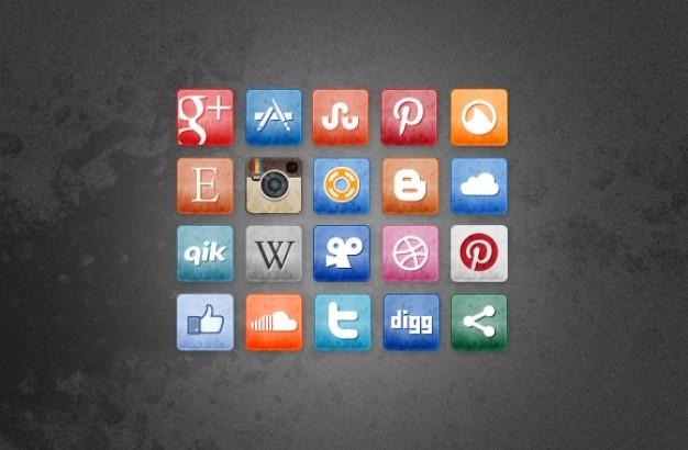 Squared textuur sociale media iconen Gratis Psd
