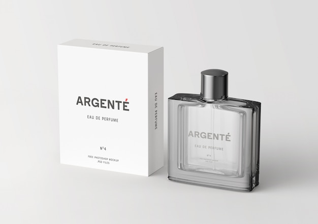 Staande parfumfles en verpakking box mockup Premium Psd