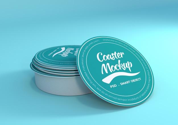 Stack table coaster mockup Psd Premium