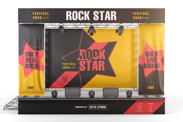 Stage reclameborden en banners vooraanzicht mockup Premium Psd
