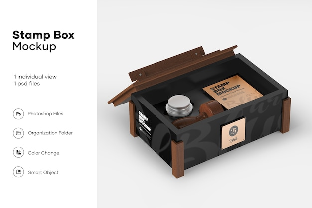 Stamp box mockup Premium Psd