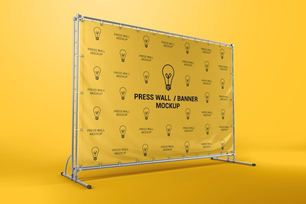 Stampa mockup banner a parete Psd Premium