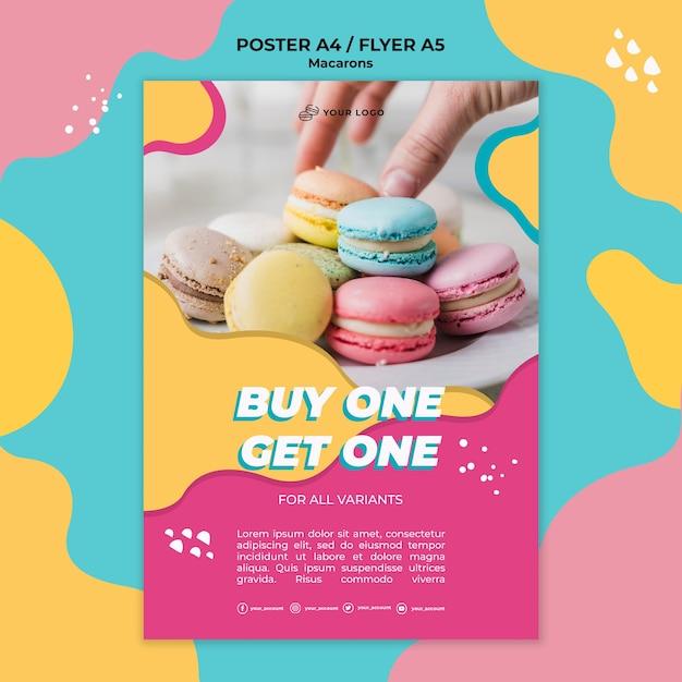Stampa modello macarons pasticceria poster Psd Gratuite
