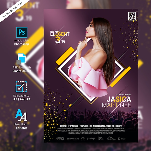 Stampa poster creativa in stile club pronta Psd Premium