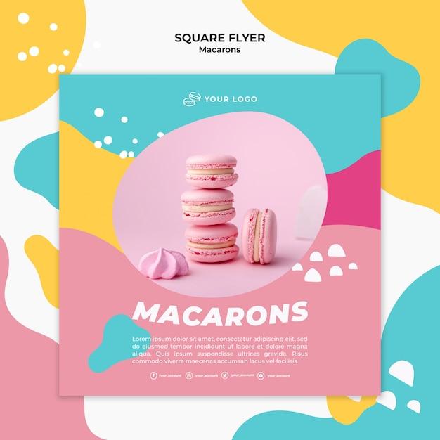 Stapel roze macarons vierkante flyer sjabloon Gratis Psd