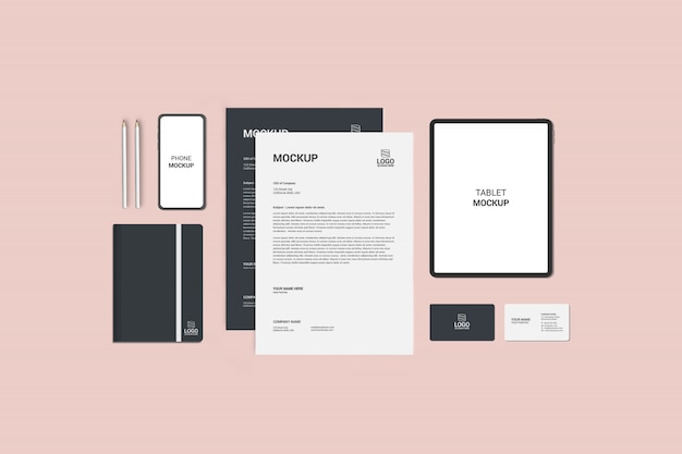 Stationaire mock-up Premium Psd