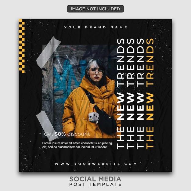 Stedelijke mode sociale media postsjabloon Premium Psd