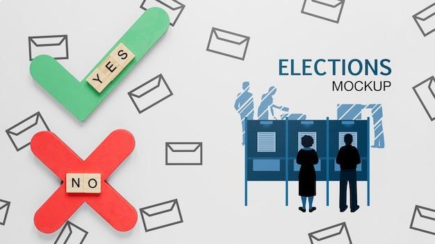 Stemmen voor verkiezingen mock-up met mensen Gratis Psd