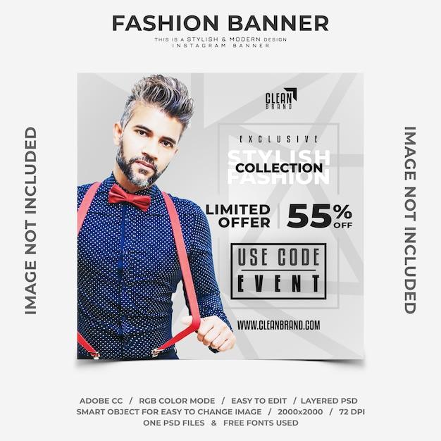 Stijlvolle mode-evenementen kortingen instagram banner Premium Psd
