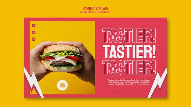 Stile banner ristorante hamburger retrò Psd Gratuite