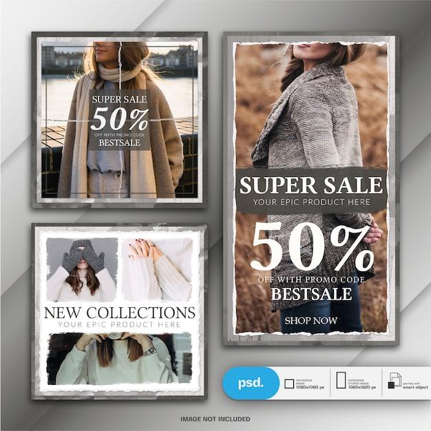 Storia di instagram di moda e post quadrato o modello di banner Psd Premium