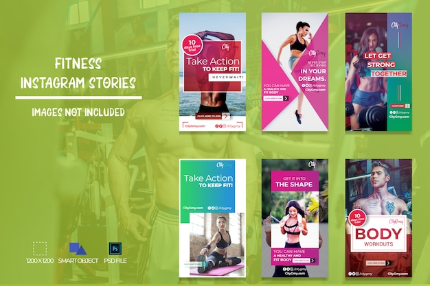 Storie di fitness per instagram Psd Premium