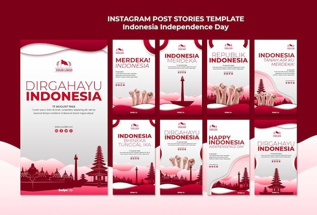 Storie di instagram di festa dell'indipendenza dell'indonesia Psd Gratuite
