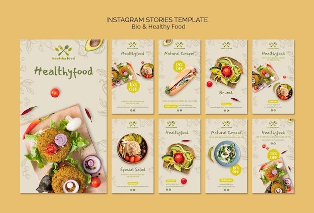 Storie di instagram di modelli alimentari sani e bio Psd Gratuite