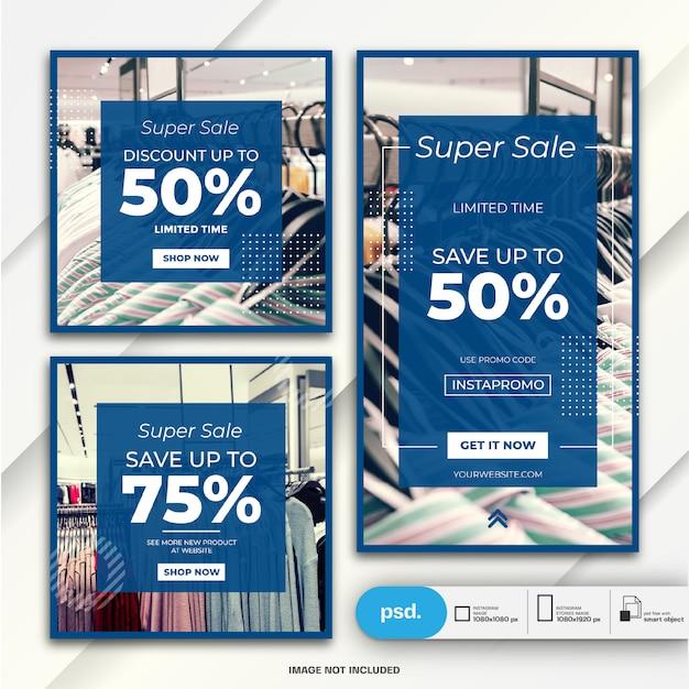 Storie di instagram e banner post bundle modello di vendita di moda Psd Premium