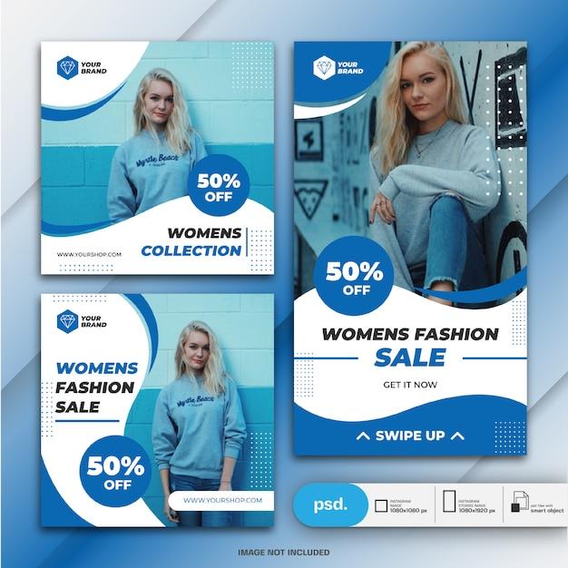 Storie di instagram e feed post bundle marketing aziendale di moda Psd Premium