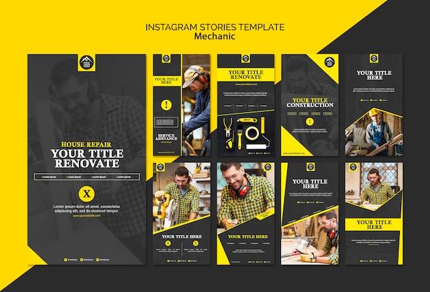 Storie di instagram lavoratore manuale carpentiere Psd Gratuite