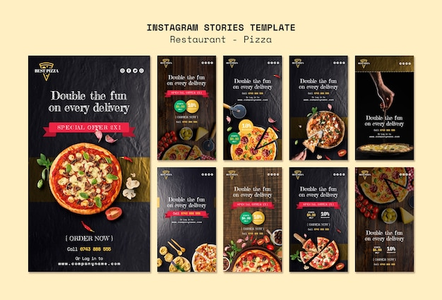 Storie di instagram per pizzerie Psd Gratuite