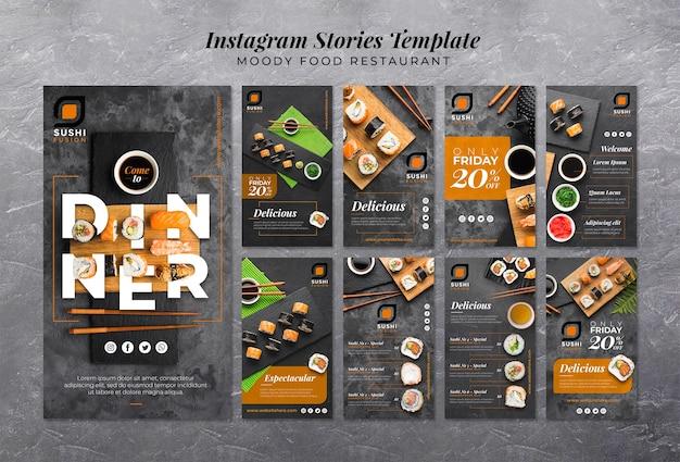 Storie di instagram ristorante moody food Psd Gratuite