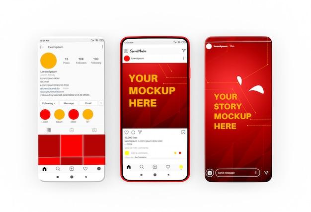 Storie di social media e modello di post sul modello di smartphone Psd Premium