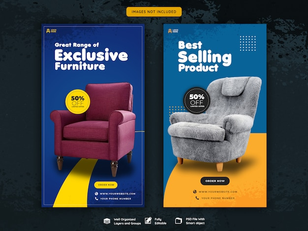 Storie esclusive di vendita di mobili su instagram Psd Premium