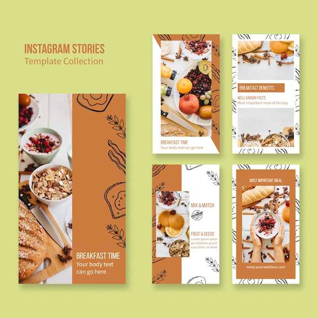 Stories de instagram para concepto de branding de restaurante PSD gratuito