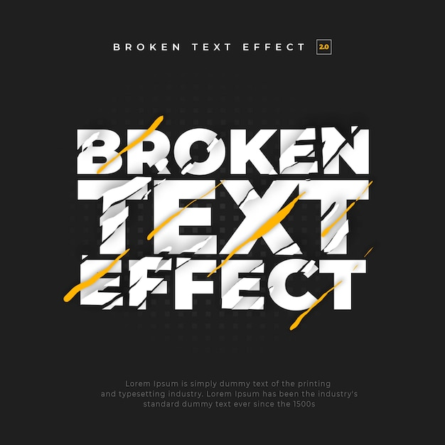 Strappato split broken text effect Psd Premium
