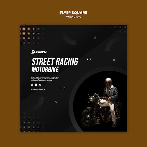 Street racing motor flyer vierkant Gratis Psd