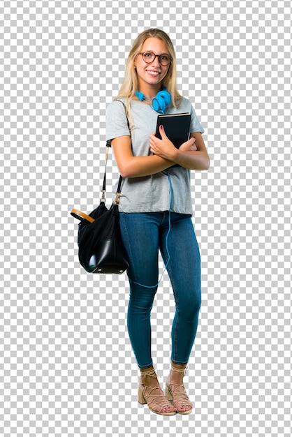 Studentenmeisje met glazen die de wapens houden in zijpositie worden gekruist terwijl het glimlachen. zelfverzekerde uitdrukking Premium Psd