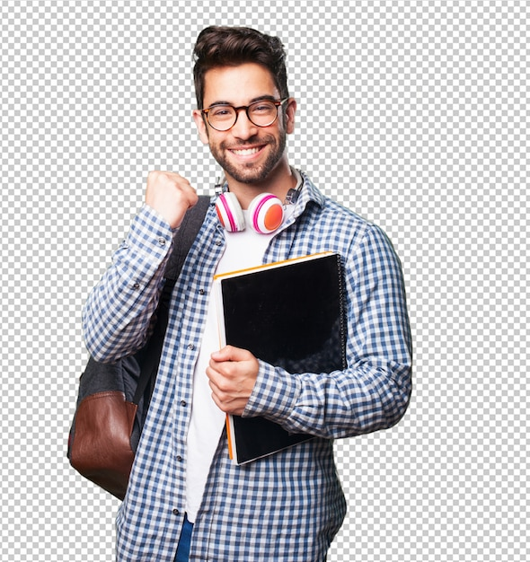 Studentenmens die een boek houdt Premium Psd
