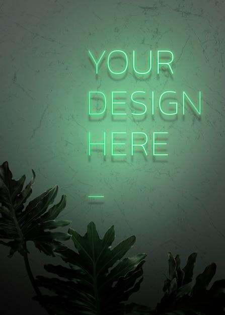 Su diseño aquí letrero de neón PSD gratuito