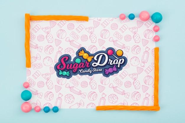 Suikerdaling met kleurrijk snoepframe Gratis Psd