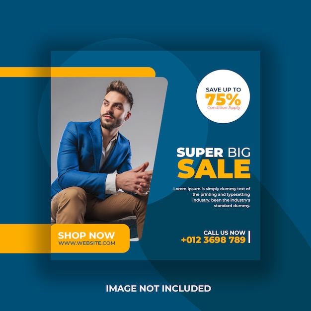Super big sale promotie flyer social media post sjabloon Premium Psd