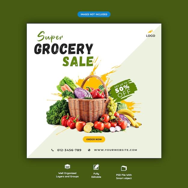 Super supermarkt verkoop banner Premium Psd