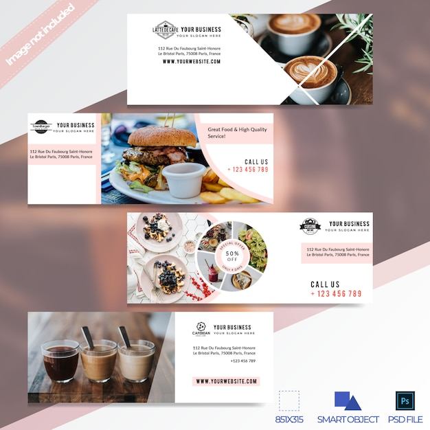 Super verkoop restaurant facebook tijdlijn cover banner Premium Psd
