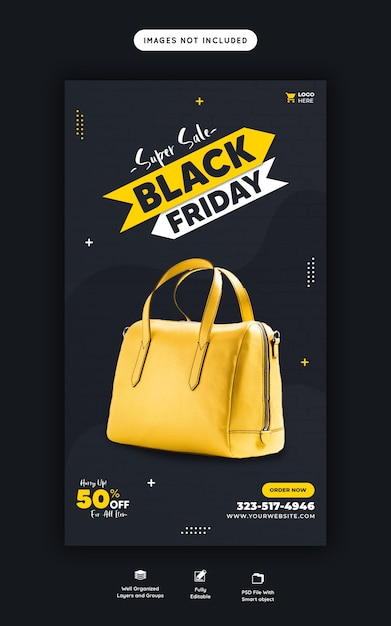 Super verkoop zwarte vrijdag instagram en facebook verhaalsjabloon voor spandoek Gratis Psd