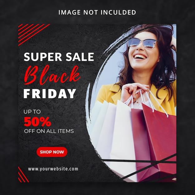 Super verkoop zwarte vrijdag sociale media sjabloon Premium Psd