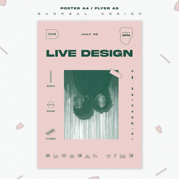 Surrealistisch ontwerp sjabloon poster Gratis Psd