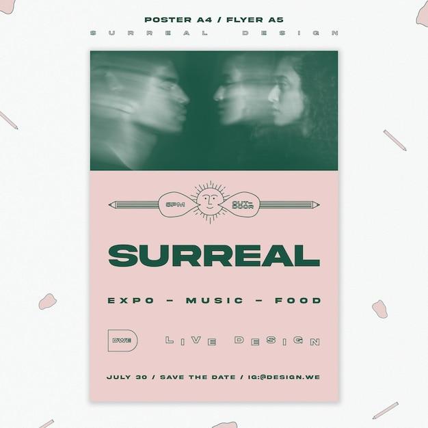 Surrealistisch ontwerpsjabloon evenement flyer Gratis Psd