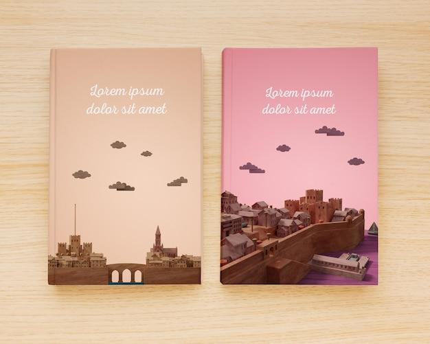 Surtido plano de libros minimalistas que cubren una variedad de maquetas PSD Premium