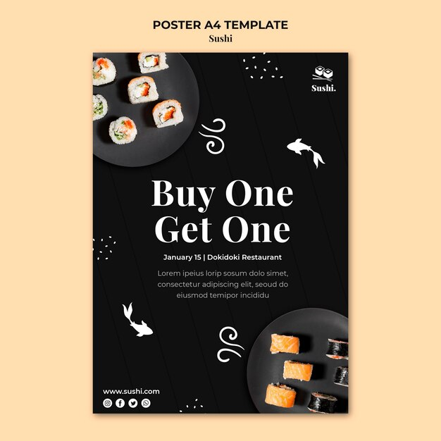 Sushi poster sjabloon met foto Premium Psd