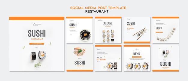 Sushi restaurant instagram postsjabloon Gratis Psd
