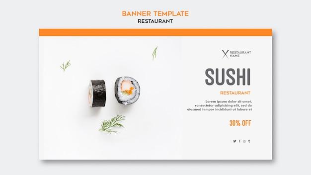 Sushi restaurant sjabloon banner Gratis Psd
