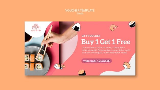 Sushi restaurant voucher sjabloon Gratis Psd